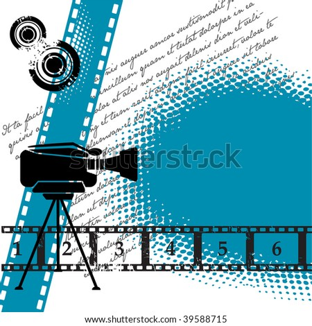 Abstract colorful illustration with numbered filmstrip, grunge circles, and movie camera. Cinema theme