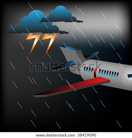Abstract colorful illustration with passenger plane flying in a stormy weather