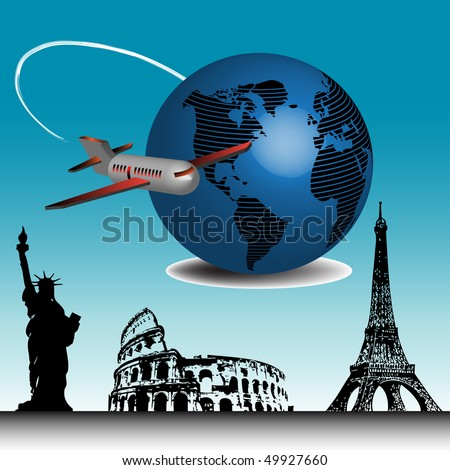 Abstract colorful illustration with passenger plane travelling around the world and a few important landmarks from all over the world