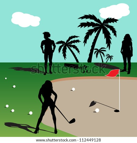 Abstract colorful illustration with people playing golf during the summer