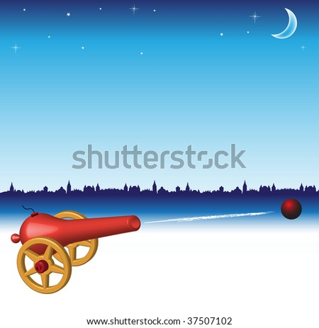 Abstract colorful illustration with red cannon shooting a cannon ball