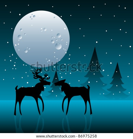 Abstract colorful illustration with reindeer couple kissing under the light of the moon