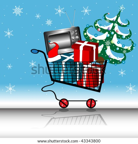 Abstract colorful illustration with shopping cart full of gift boxes, tv and Christmas tree. Shopping cart