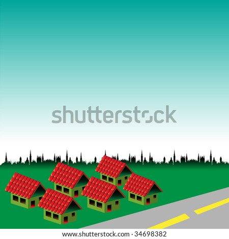 Abstract colorful illustration with six houses with red roof near a road. Brand new neighbourhood concept