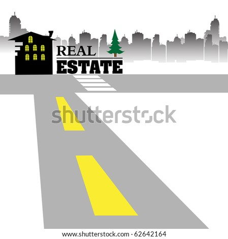 Abstract colorful illustration with skyscraper silhouettes, black house, a road and the text real estate written with capital letters near the house silhouette. Real estate concept