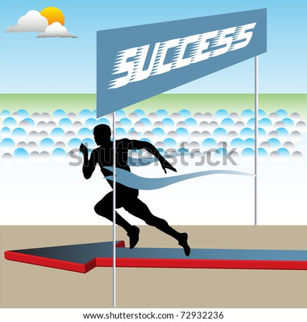 Abstract colorful illustration with sprinter achieving the success line