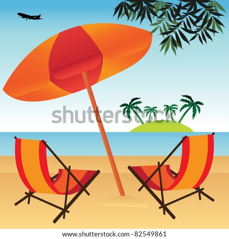 Abstract colorful illustration with sun umbrella and two extensible chairs on a beautiful beach near the ocean