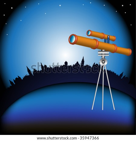 Abstract colorful illustration with telescope, building shapes and a sky with many shiny stars. Night scene with modern telescope