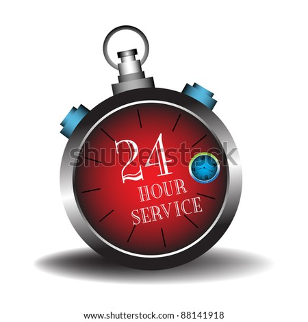 Abstract colorful illustration with the text twenty four hour service written inside of a red stopwatch isolated on a white background