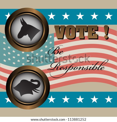 Abstract colorful illustration with the two mascots of the most important parties in United States, the Democratic Party and the Republican Party