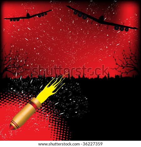 Abstract colorful illustration with two bomber silhouettes dropping bombs over a town during the night. War concept