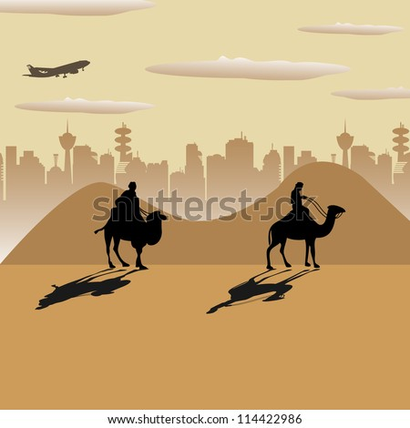 Abstract colorful illustration with two people crossing the desert on camels
