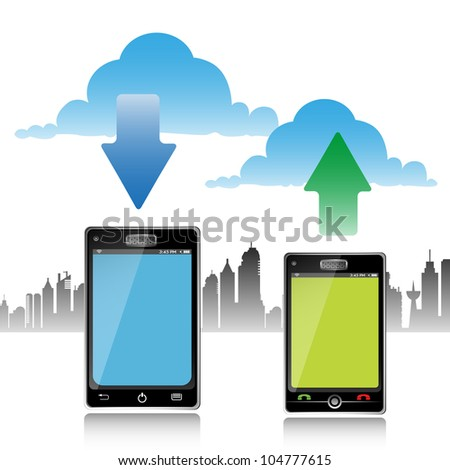 Abstract colorful illustration with two touch screen phones downloading and uploading. Cloud computing concept