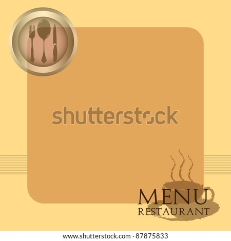 Abstract colorful illustration with various restaurant symbols and the text menu restaurant written in a lower corner. Menu design