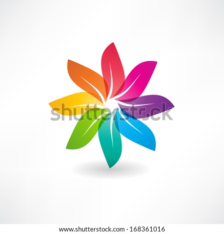 abstract colorful leaves icon