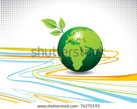 abstract colorful line wave with globe vector illustration