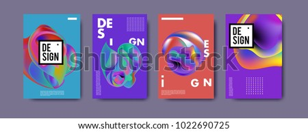 Abstract colorful liquid and curvy colors background for poster design. Blue, yellow, red, orange, pink and green. Vector banner poster template in Eps10. #1022690725
