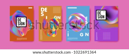 Abstract colorful liquid and curvy colors background for poster design. Blue, yellow, red, orange, pink and green. Vector banner poster template in Eps10. #1022691364
