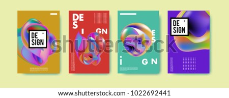 Abstract colorful liquid and curvy colors background for poster design. Blue, yellow, red, orange, pink and green. Vector banner poster template in Eps10. #1022692441