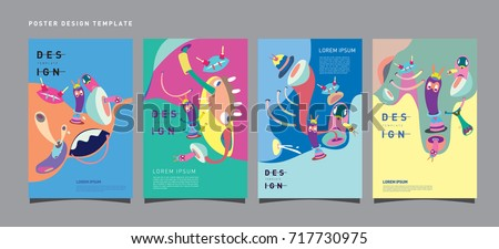Abstract  Colorful liquid and curvy covers set. Bubble shapes cartoon character composition. Trendy retro toys design.  - Shutterstock ID 717730975