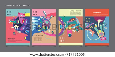 Abstract  Colorful liquid and curvy covers set. Bubble shapes cartoon character composition. Trendy retro toys design.  - Shutterstock ID 717731005