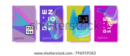 Abstract colorful liquid and fluid pattern background for poster design. Blue, yellow, red, orange, pink and green. Vector banner poster template in Eps10. #796959583