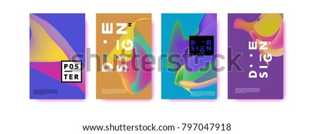 Abstract colorful liquid and fluid pattern background for poster design. Blue, yellow, red, orange, pink and green. Vector banner poster template in Eps10. #797047918