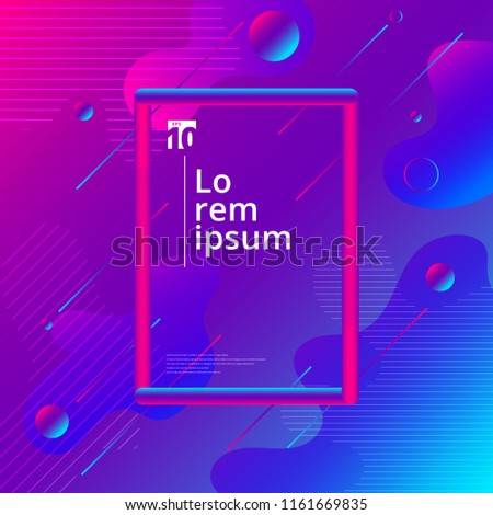 Abstract colorful liquid and fuid shape geometric composition background with 3d tube frame. Vector illustration - Shutterstock ID 1161669835