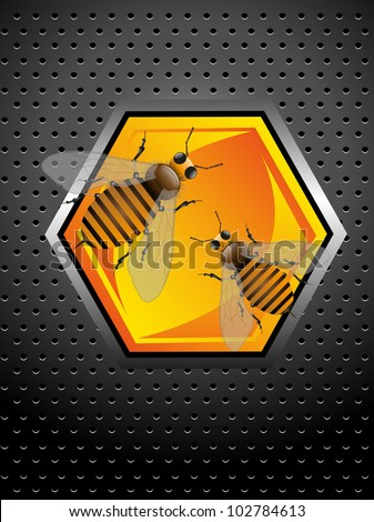 Abstract colorful metallic background with two working bees standing on a honeycomb cell