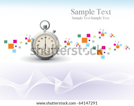 abstract colorful mosaic, curve wave background with isolated stopwatch - stock vector