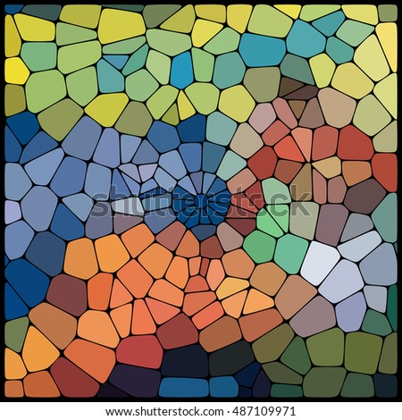 Abstract colorful mosaic pattern.  Abstract background consisting of elements of different shapes arranged in a mosaic style. Vector illustration. Yellow, orange, brown, blue colors #487109971