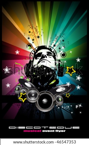 Abstract Colorful Music Event Background with Disk Jockey Shape for Discoteque Flyers