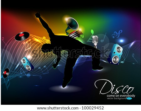 Abstract colorful musical wave background with speaker,music player and silhouette of a dancing boy, EPS 10. can be use as banner, flyer or poster for disco party and other events.