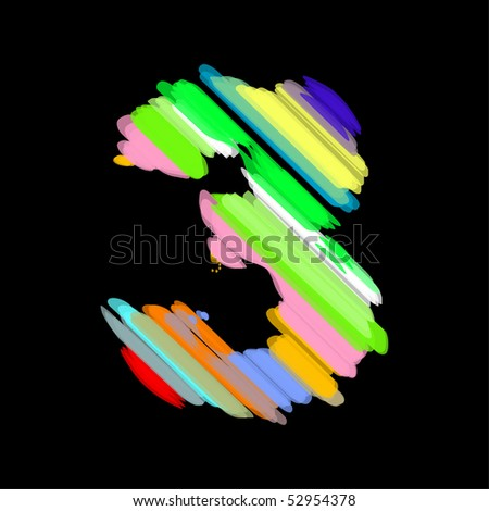 Abstract colorful number 3. - stock vector