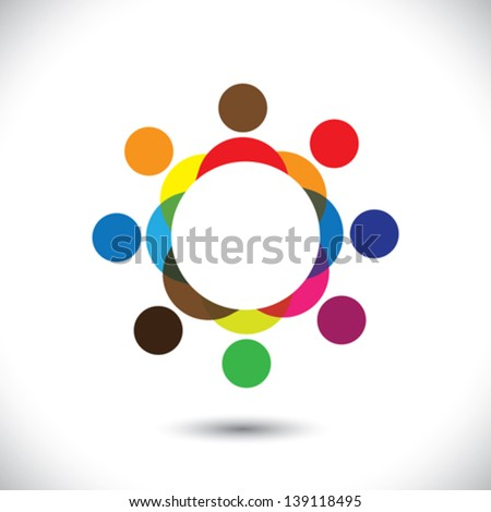 Abstract colorful people symbols in circle - vector graphic icon. This logo template can also represent concept of children playing together or friendship or team building or group activity,etc