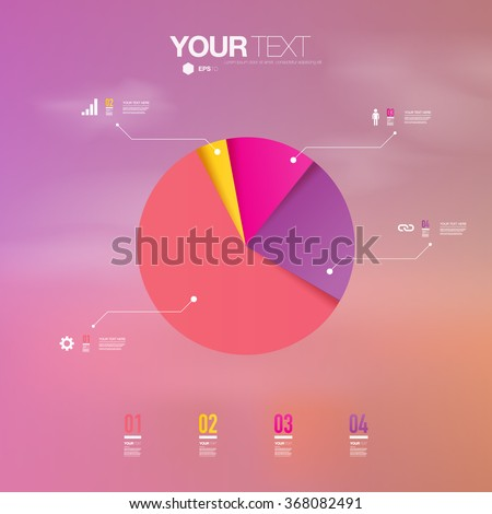 Abstract colorful percentage diagram design with sunset sky background  can be used for workflow layout, diagram, chart, pie, number options, presentation, web design. Eps 10 stock vector illustration