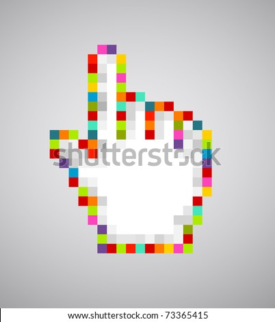 Abstract colorful pixalated hand