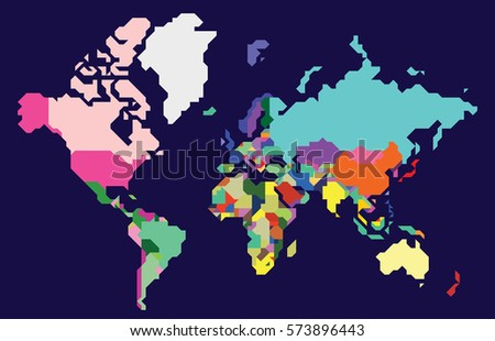 Abstract colorful polygonal world map, countries,  isolated on deep blue background. Vector Illustration.