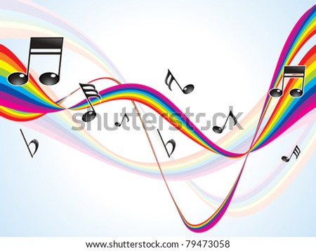 abstract colorful rainbow musical waves vector illustration