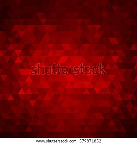 Abstract colorful red vector background with triangles. Shiny geometric mosaic.