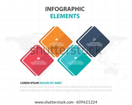Abstract colorful round rectangle business timeline Infographics elements, presentation template flat design vector illustration for web design marketing advertising