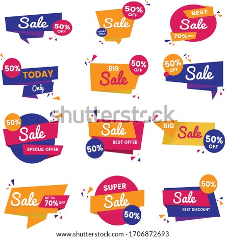 Abstract Colorful sale banner designs in white colour background