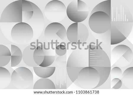 Abstract colorful seamless background pattern with circles graphs and overlapping shaded shapes with depth and shadows. Modern vintage pattern with neutral grays white and shading