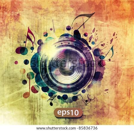 abstract colorful speaker design background illustration.