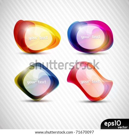 Abstract colorful speech bubble (vector set) - stock vector