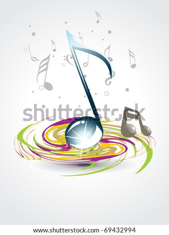 abstract colorful spiral background with shiny musical notes
