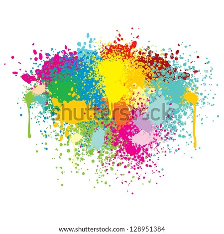 Abstract Colorful Splashes. Vector Background