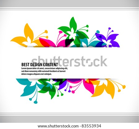 abstract Colorful spring background with butterfly and flowers, Vector.