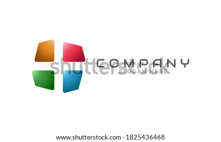Abstract colorful square logo with negative space of plus symbol. Modern flat vector logo design. Usable for Business and Technology logos.