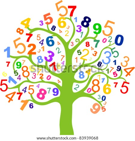 Abstract colorful tree with numbers  isolated on white background.. Vector Illustration